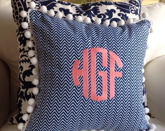 Monogrammed Chevron or Quatrefoil Pom Pom Pillow Cover