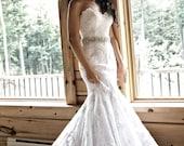 "Swarovski Crystal & Pearl Bridal Sash, Rhinestone Wedding Belt, Ivory Crystal Bridal Sash, 24"" of Rhinestones - AMELIE"