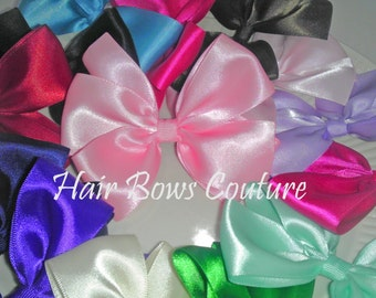 Satin Classic Hair Bows  4 inch  Hair Bows for Newborns Toddlers and Girls Fancy Satin Hair Bows Easter Dressy Hair Bows