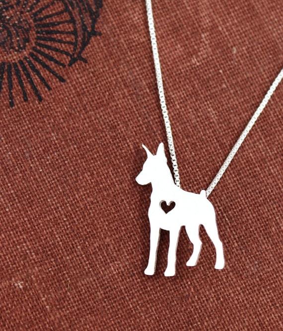 Doberman Pinscher Necklace Sterling Silver Hand By