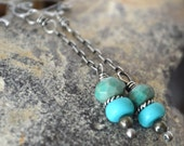FREE SHIPPING---Turquoise Chrysoprase Pyrite Dangle Earrings---Long and Elegant---Sterling Silver---Creations by Sandy
