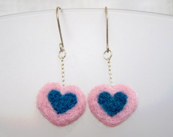 Valentine Heart Jewelry, Double Hanging Heart Earrings, Needle Felted Pink and Turquoise Wool, Jewelry for Charity