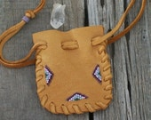 Drawstring pouch ,  Leather bag , Beaded gift bag , Leather medicine bag , Amulet bag