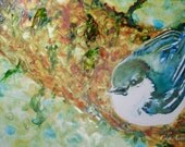 Pygmy Nuthatch bird Watercolour Art on Yupo paper - Sweet little wildlife  ORIGINAL watercolor on Yupo Paper 5x8