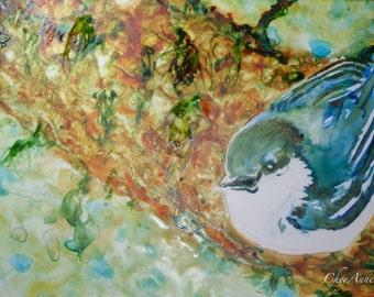 Bird Watercolor Pygmy Nuthatch Art on Yupo paper - Sweet little wildlife  ORIGINAL watercolor on Yupo Paper 5x8