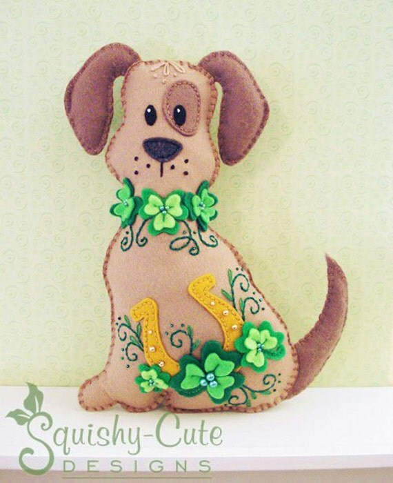 Dog Stuffed Animal Pattern - Felt Plushie Sewing Pattern & Tutorial - Lucky the St. Patrick's Day Dog - Embroidery Pattern PDF