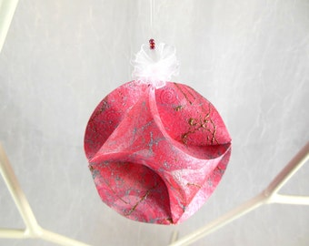 Ornament Pink Peppermint Origami Paper Sculpture OOAK