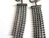 Vintage Art Deco Earrings Dangling Silver Tone Bead Chain Faux Pearl Clasp Screw Backs