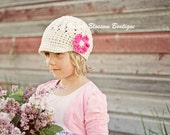 Crochet Toddler Girls Hats, Crochet Hat for Girls, Hat with Visor, Off White, Hot Pink, Cotton, 12 Months to 4T Hat