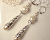 Art Deco Champagne Ivory Pearl & Rhinestone Long Silver Bridal Drop Earrings, 1920s Vintage Flapper Jewelry Great Gatsby Statement Dangles