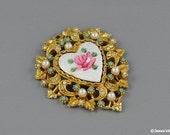 Guillioche Enamel Gold Pendant Rhinestones Faux Pearl & Pink Rose