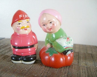Pair of Vintage Chalkware Pencil Sharpeners - Fireman and Genie