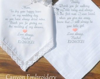 Two Personalized Wedding Gift Embroidered Wedding Hankerchiefs Gifts For Mom Mother & Father of the Bride Wedding Gifts By Canyon Embroidery
