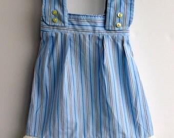 Girls Summer Dress, Upcycled Men's Shirt, 12 months