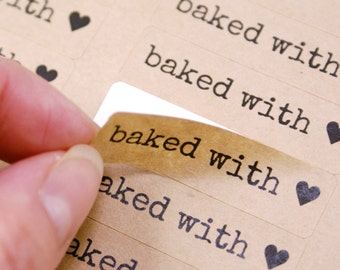 80 BAKED WITH LOVE & Heart in Typewriter font - Brown Kraft Sticker Labels - 1/2 x 1 3/4 inch - packaging, baked goods, care packages