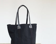 Utility Tote in Black Waxed Canvas & Black Leather