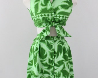 60s crop top and maxi skirt  - 1960s dress set  - Ruth Clarage - vintage resort wear - beach wedding