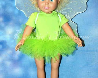 """3-Piece Tinkerbell Tutu Outfit for 18"""" and 15"""" Dolls - Fits American Girl Dolls and My Generation Dolls"""