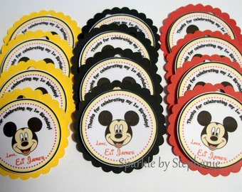 Personalized Mickey Mouse Favor Tags - Set of 12+ - Customized with Child's Age & Name with Red, Black and Yellow Backgrounds