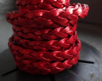 5MM flat braided leather cord in metallic red, by the yard