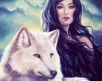 Winter Wolf 8x10 Art Print by Selina Fenech