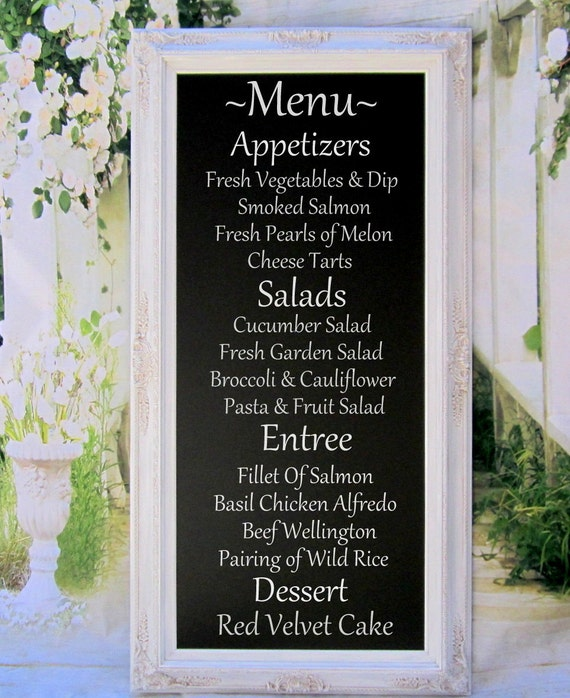 "WEDDING MENU BOARD Long Chalkboard - Attached Stand Easel - X-Large Standing Chalkboard- 56""x32"" White Framed Wedding Menu Display Board"