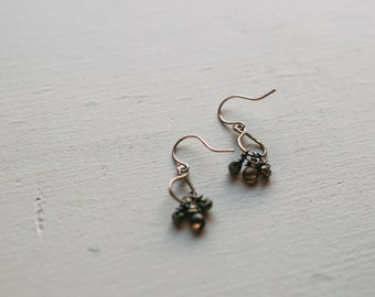 Grungy Tourmaline and Pyrite Dangle Earrings