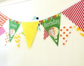 Happy Birthday Fabric Banner, Bunting, 5 Extra Large Pennant Flags, Hot Air Balloon Party, Green, Red, Yellow, Happy Birthday Photo Shoot