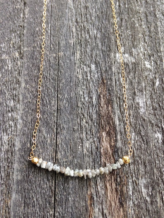 Gray Raw Diamond necklace with gold filled chain - NG09
