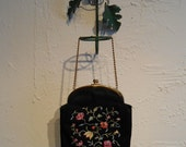 RESERVED - Bring Your Own Bouquet - Late 1940s Rosenfeld Black Twifaille Evening Bag w/Floral Embroidery