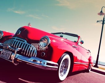 1946 Buick Roadmaster Convertible - Retro Decor for Home or Office - Metallic Print of Glamorous Red Vintage Car