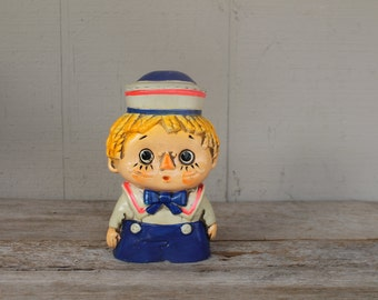 Antique Ceramic Coin Bank //  Raggedy Doll // Raggedy Andy // Piggy Bank