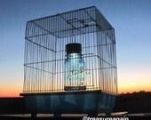 Solar Bird Cage Mason Jar Garden Art, Antique Blue Mason Jar Light in White Bird Cage, Outdoor Garden Light, Upcycled Mason Jar Solar
