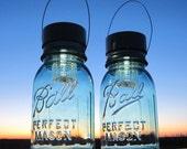 Unique Gripper Mason Jars 2 Ball Antique Ribbed Jars with Solar Light Lids, Hanging Solar Outdoor Garden Lanterns