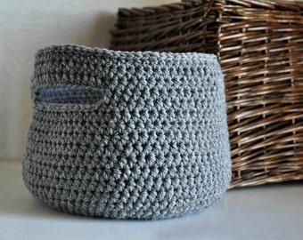 Medium Grey Basket with Handles  Catchall Storage Bin Gray Modern Decor Contemporary Design Storage Solution Dorm Decor Back to School