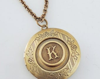 Locket Necklace - Initial K - Letter  - Vintage Brass Jewelry - Personalized Necklace - ALL LETTERS - handmade jewelry Personalized Jewelry