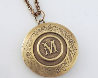Locket Necklace - Personalized Necklace - Initial M - Letter M - Brass Jewelry- ALL LETTERS - handmade jewelry Personalized Jewelry