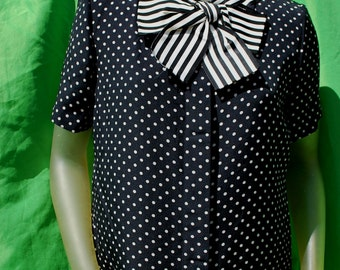 Vintage 80's BILL BLASS polka dot OP art blouse shirt s12 used sL by thekaliman