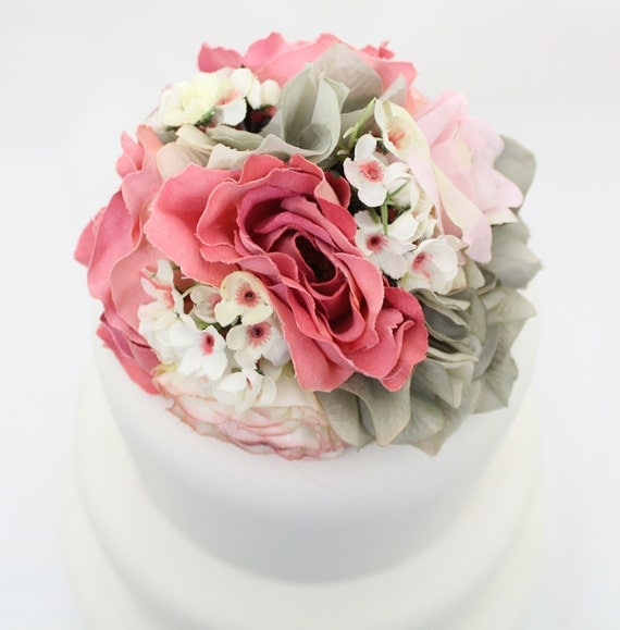 Silk Flower Wedding Cake Toppers: Wedding Cake Topper Pink Rose Gray Hydrangea By ItTopsTheCake