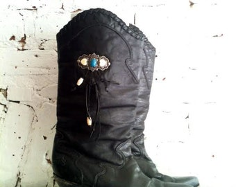 Black Leather Zodiac Boots - 7M