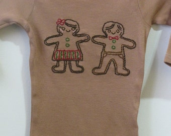 Gingerbread Girl and Boy Baby Onesie