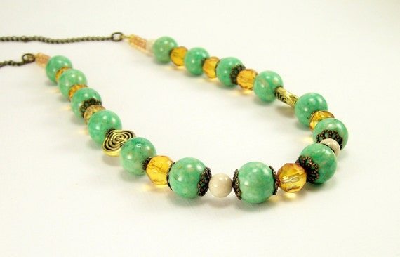 Gemstone Jewelry Green Bead Necklace ~ Beaded Summer Green & Light Amber Boho Rustic Necklace ~ Beaded Jewelry ~ For Women ~ Handmade