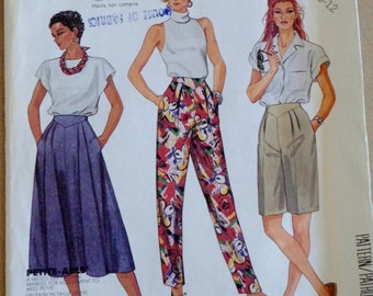 Vintage 80s Sewing Pattern -- Mccalls 2930 -- 80s Skirt Pants Shorts -- Size 8 10 12 W24 W25 W26.6 Small