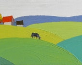 The Moving Fields -  8x24, Landscape Painting- Oil Painting, Fine Art, Barn, Horse