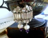 Grand Ballroom, Vintage Rhinestone, Genuine Amethysts and Freshwater Pearl Altered Assemblage Earrings
