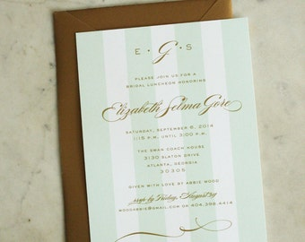 bridal luncheon, bridesmaids' luncheon OR wedding shower invitation - mint / gold monogram & stripes