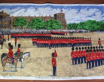 Vintage Irish Linen Tea Towel by Ulster, London Trooping the Colour at Horse Guards Parade