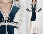 vintage 70s Gunne Sax Dress Crochet Lace Velvet Prairie Boho Hippie Wedding Maxi S hippie dress hippy dress boho dress festival dress