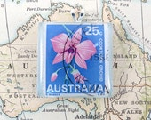 Vintage Australia Cooktown Orchid Postage Stamp Necklace Pendant