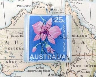 Vintage Australia Cooktown Orchid Postage Stamp Necklace Pendant